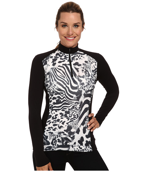 Hot Chillys - MTF Print Zip-T (Safari/Black) Women's Long Sleeve Pullover