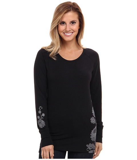 Hot Chillys - MTF Wildflower Print Scoop (Black/Charcoal) Women's Long Sleeve Pullover