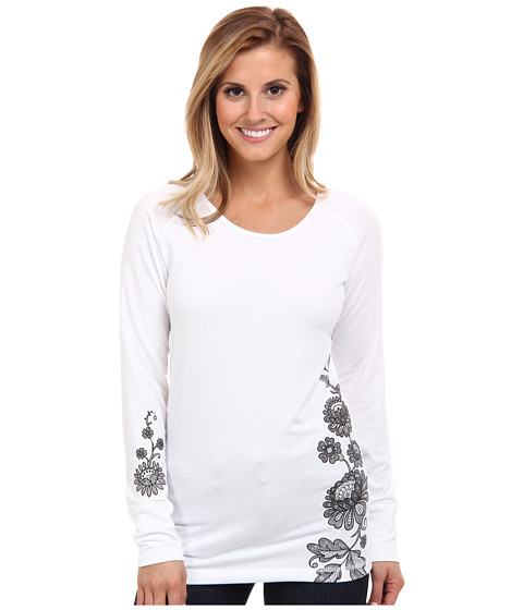 Hot Chillys - MTF Wildflower Print Scoop (White/Black) Women's Long Sleeve Pullover