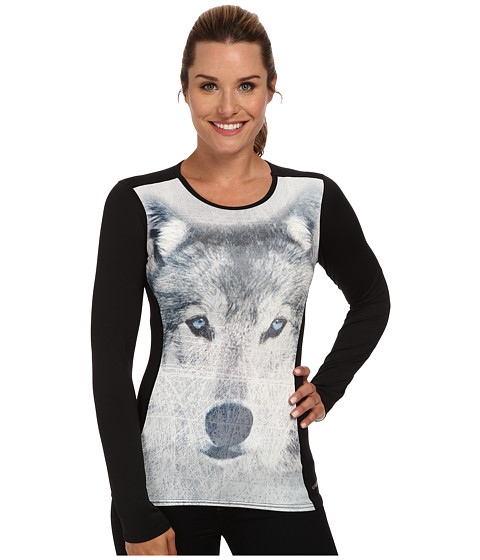 Hot Chillys - Micro-Elite Chamois Sublimated Print Crewneck (Trust/Black) Women's Long Sleeve Pullover