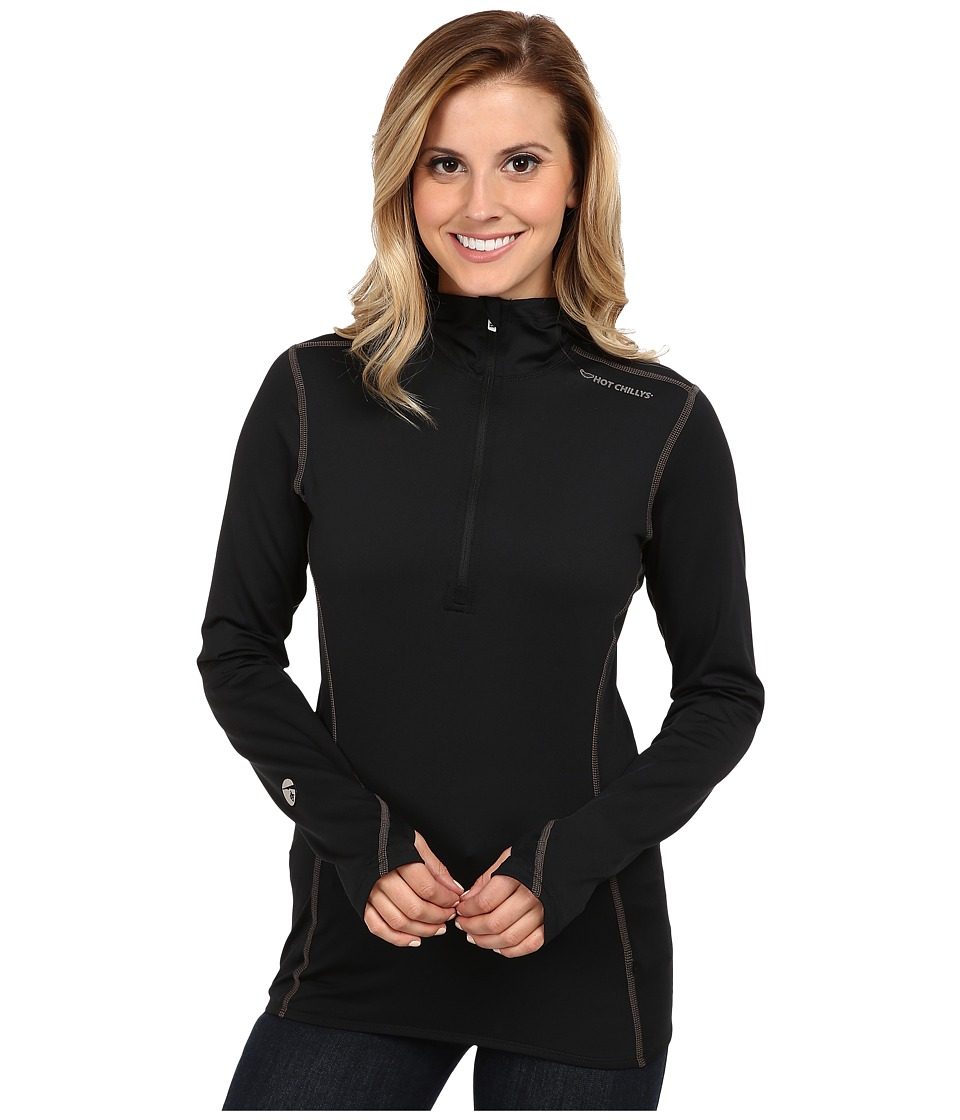 Hot Chillys - Micro-Elite Chamois 8K Hooded Zip (Black) Women's T Shirt