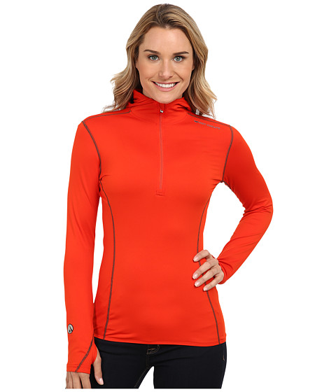 Hot Chillys - Micro-Elite Chamois 8K Hooded Zip (Cayenne) Women's Long Sleeve Pullover