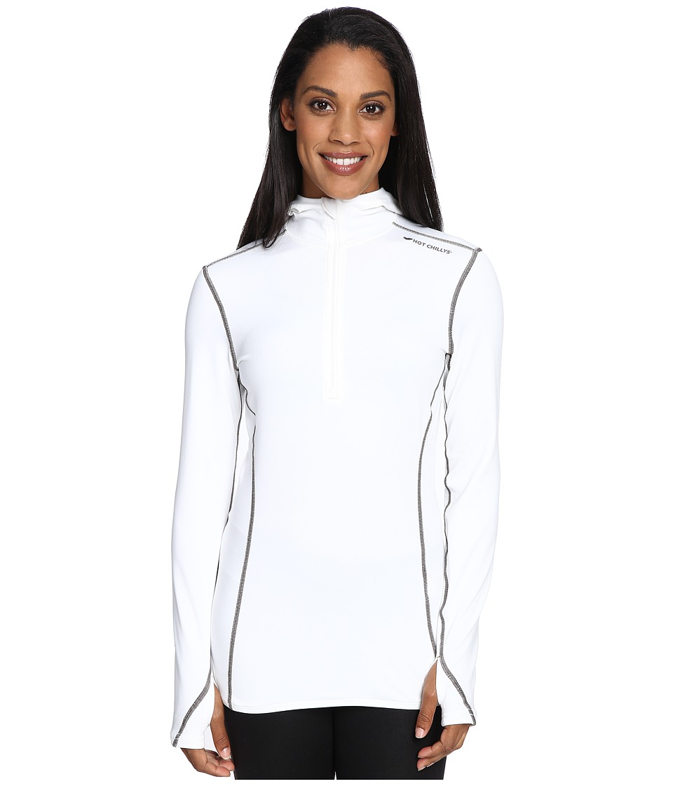 Hot Chillys - Micro-Elite Chamois 8K Hooded Zip (White) Women's T Shirt