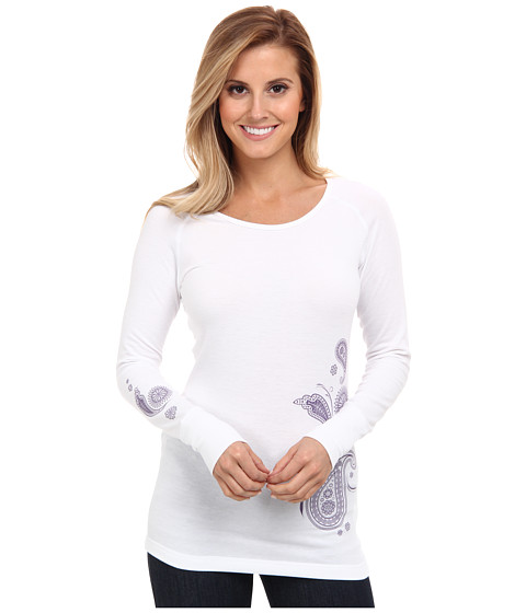 Hot Chillys - MTF Paisley Print Scoop (White/Eggplant) Women's Long Sleeve Pullover
