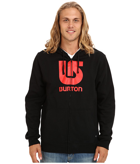 Burton - Logo Vertical Full-Zip Hoodie (True Black) Men's Fleece