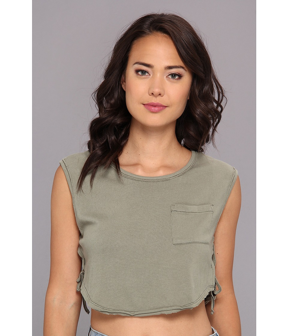 Free People - Lou Crop Top (Safari Green) Women