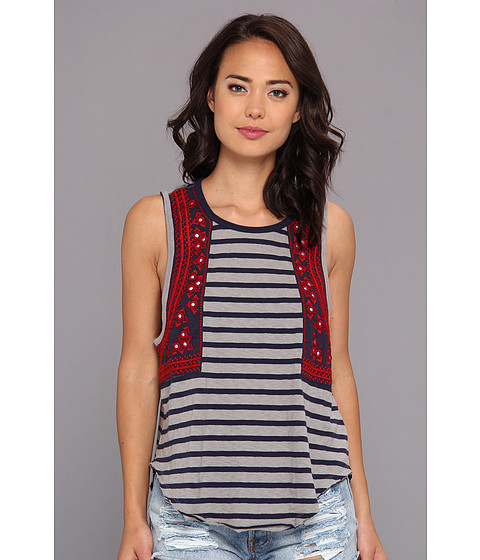 Free People - Wear Your Sparkle Tee (Grey/Navy Combo) Women's Sleeveless
