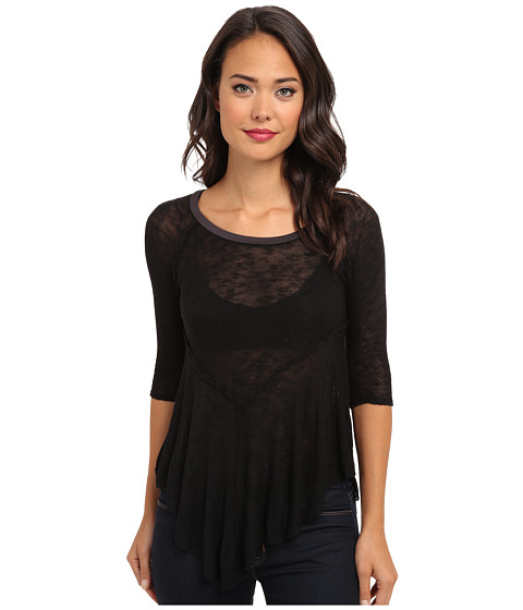 Free People - Weekends Layering Top (Black Combo) Women's Blouse