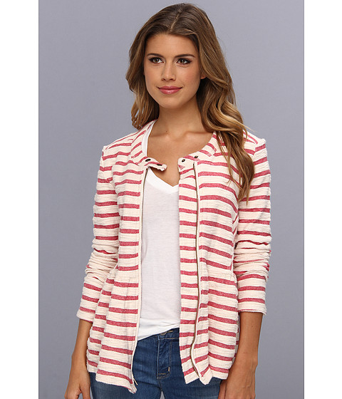Free People - Striped Peplum Jacket (Ivory Red Combo) Women's Coat