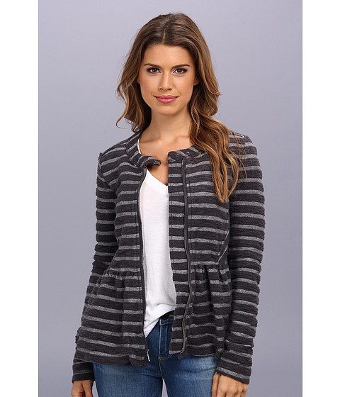 Free People - Striped Peplum Jacket (Grey Cream Combo) Women's Coat