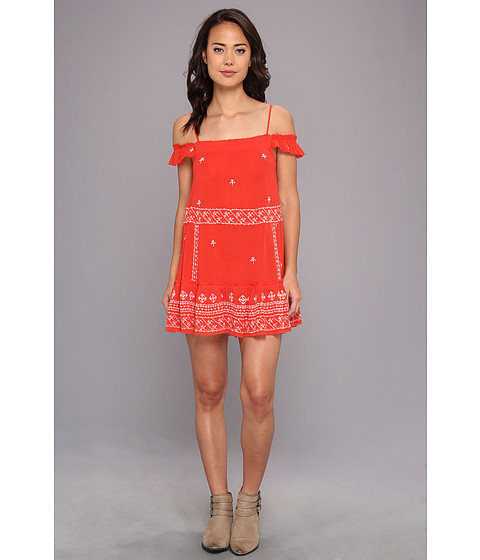 Free People - Embroidered Flounce Slip (Red Combo) Women