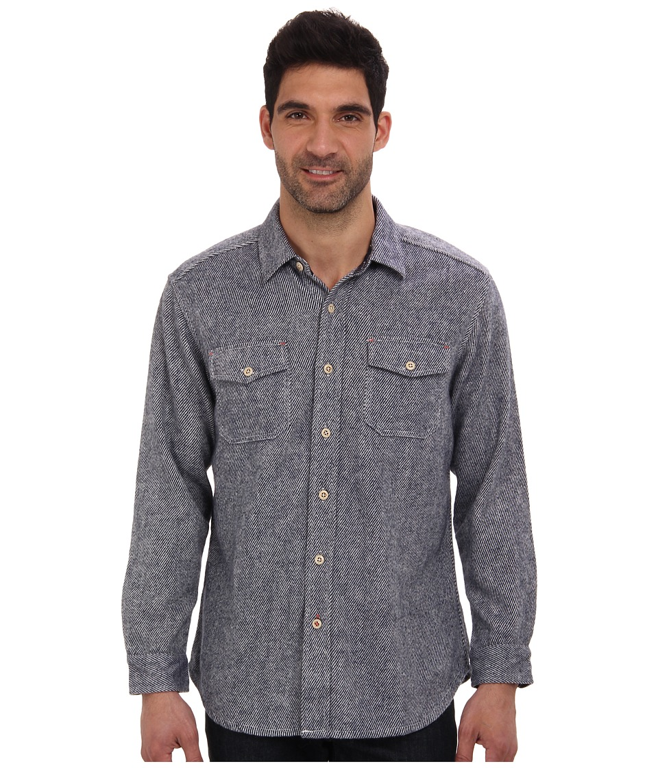 Tommy Bahama - Utili -Twill Flannel L/S Shirt (Maritime) Men's Long Sleeve Button Up