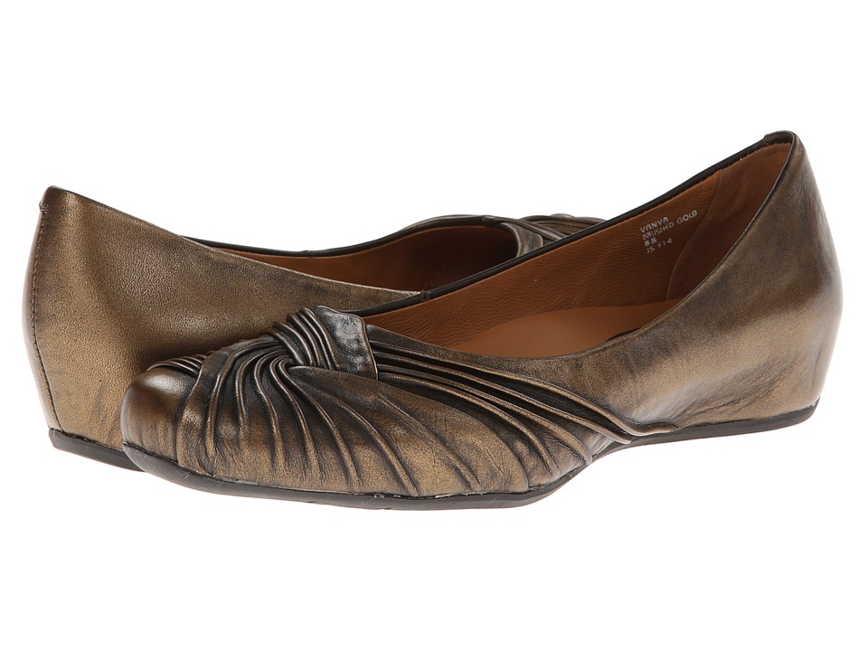 Earth - Vanya Earthies (Brushed Gold Metallic Leather) Women's Slip-on Dress Shoes