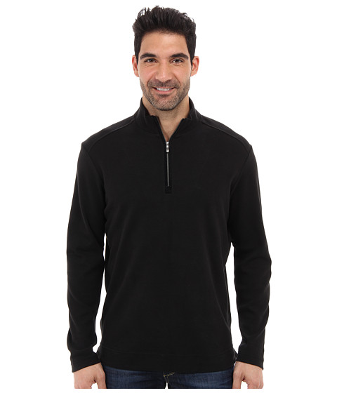Tommy Bahama - New Eversuede Half Zip Sweatshirt (Black) Men's Clothing