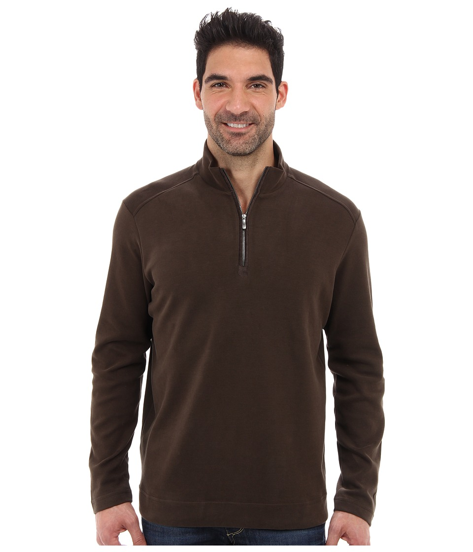 Tommy Bahama - New Eversuede Half Zip Sweatshirt (Coffee) Men's Clothing