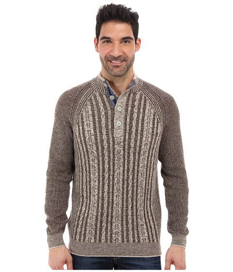 Tommy Bahama - Barbados Cable Button Mock Neck Sweater (Light Otter) Men's Clothing