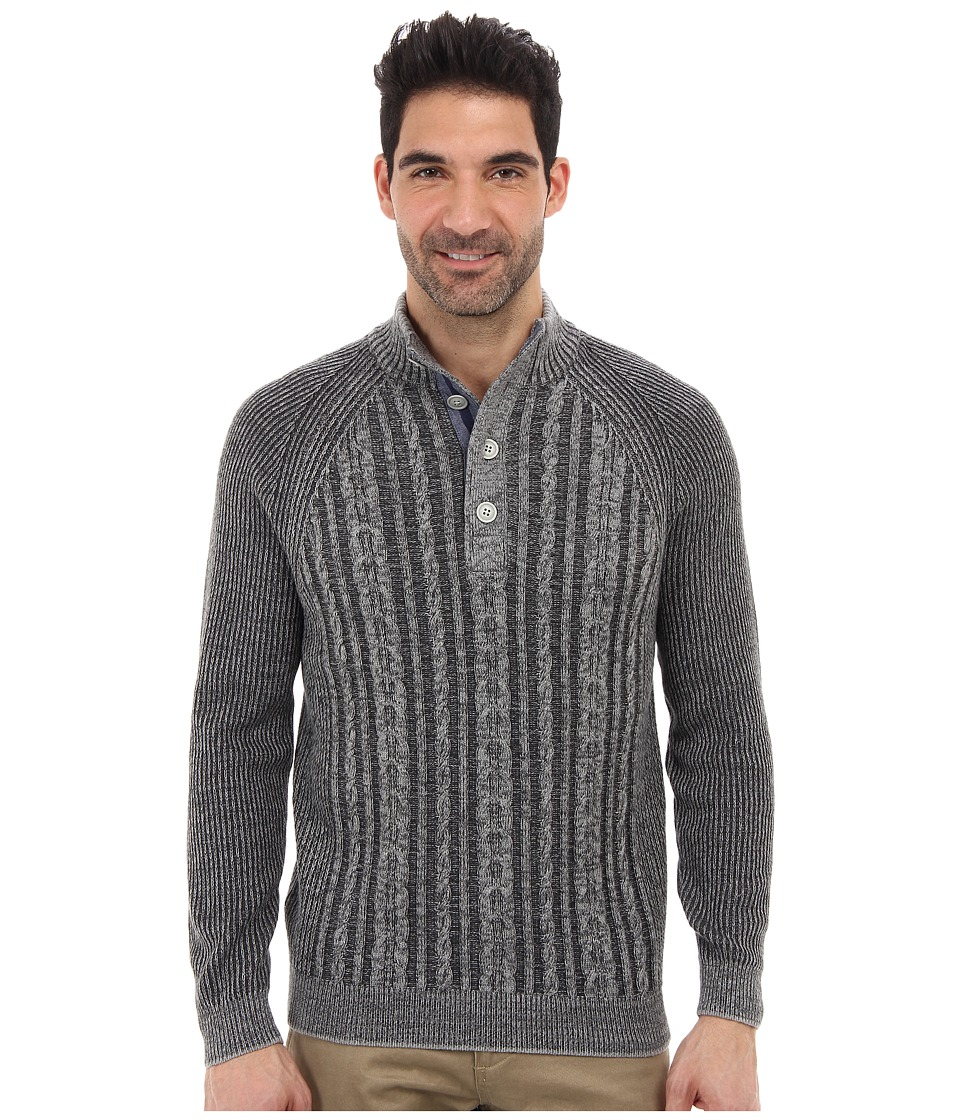 Tommy Bahama - Barbados Cable Button Mock Neck Sweater (Storm Grey) Men's Clothing