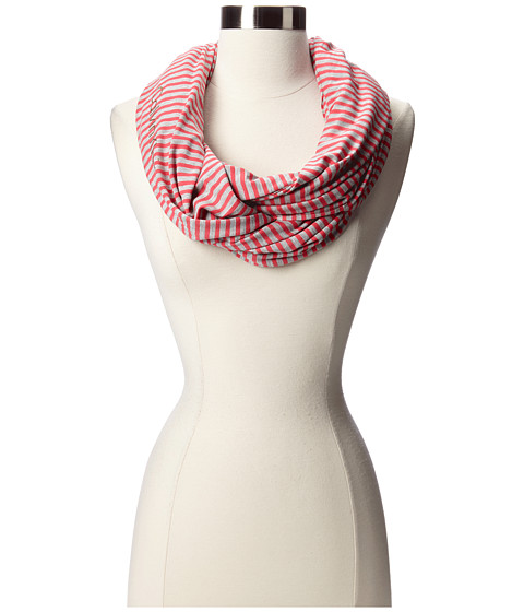 Calvin Klein - Striped Rayon/Spandex Infinity (Pomegranate) Scarves