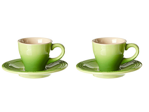 LE CREUSET Espresso Cups /& Saucers 2 oz  PALM Apple GREEN 2 Sets CAFE COLLECTION