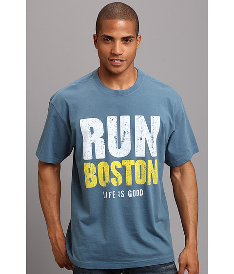 Life is good - Crusher Run Boston Tee (Pacific Blue) Men's Short Sleeve Pullover