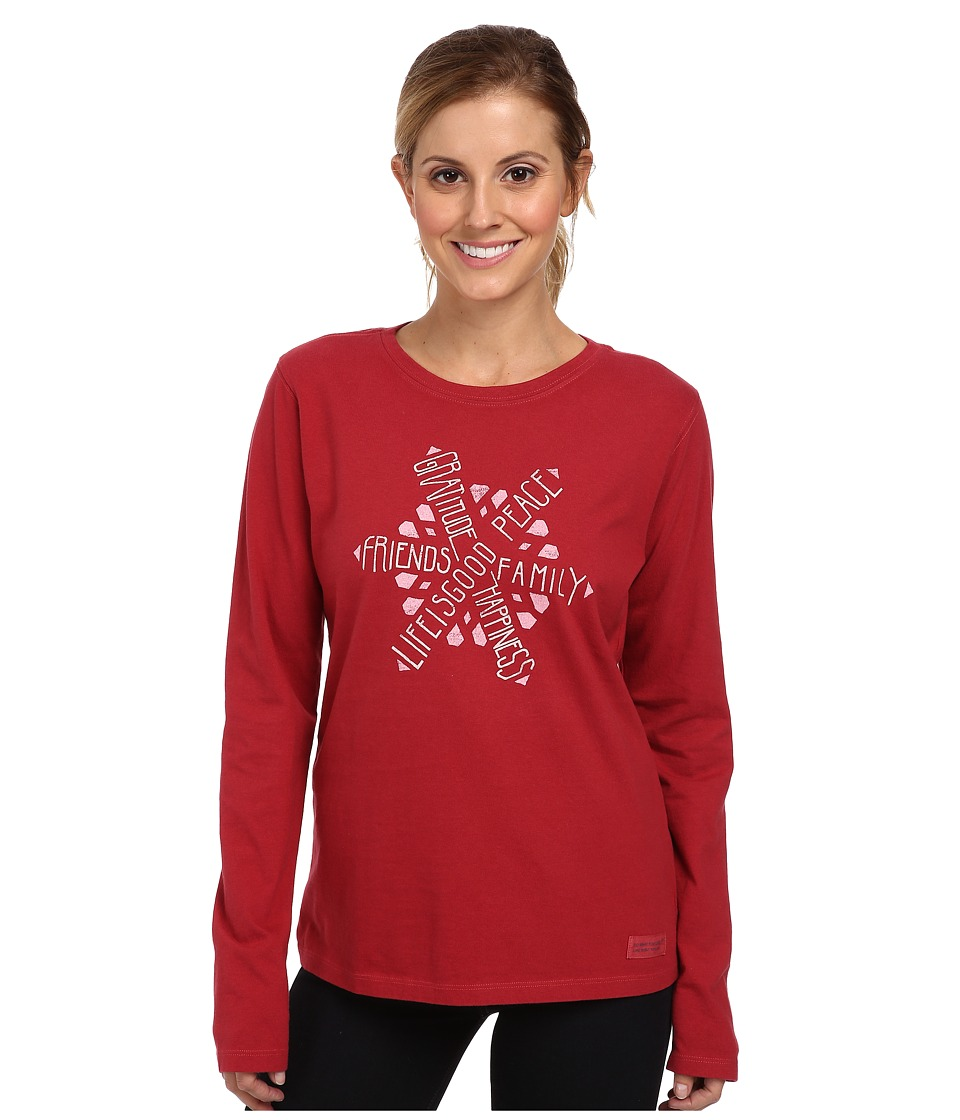 Life is good - Crusher L/S Tee (Holiday Red/Text Snowflake) Women's Long Sleeve Pullover