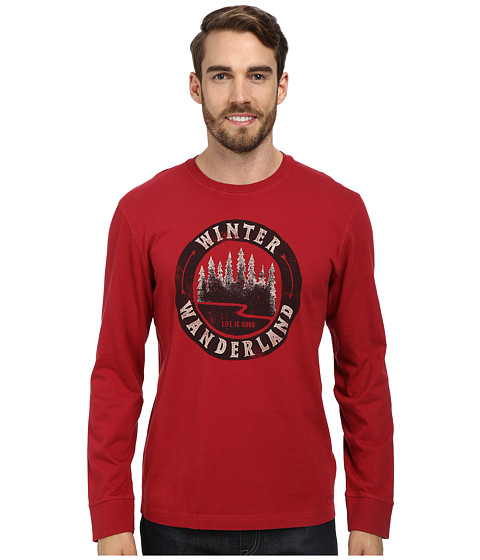 Life is good - Crusher L/S Tee (Winter Wanderland/Holiday Red) Men's Long Sleeve Pullover