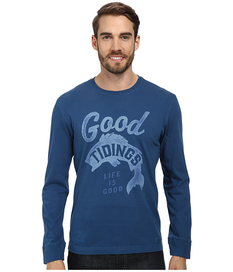 Life is good - Crusher L/S Tee (Good Tidings Fish/Midnight Blue) Men's Long Sleeve Pullover