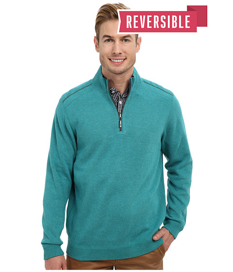 Tommy Bahama - New Flip Side Pro Reversible Half Zip Sweatshirt (Greenlake Heather) Men