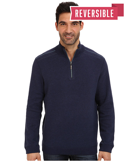 Tommy Bahama - New Flip Side Pro Reversible Half Zip Sweatshirt (Blueberry Heather) Men's Clothing