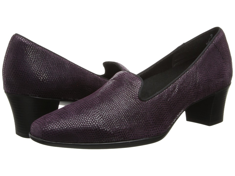 Munro - Layla (Eggplant Mini Lizard Print) Women's 1-2 inch heel Shoes