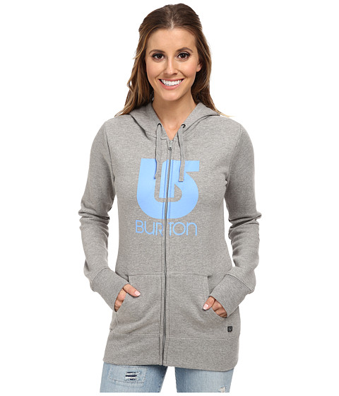 Burton - Logo Vertical Full-Zip Hoodie (Gray Heather) Women