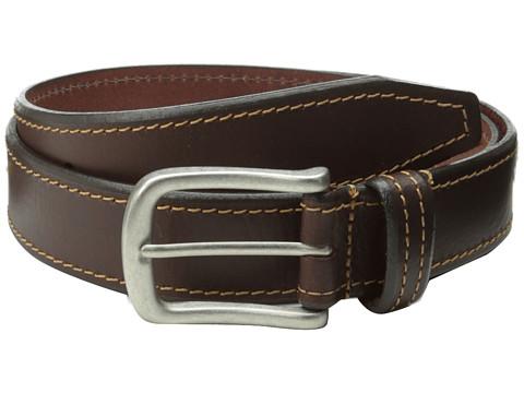 Johnston & Murphy - Contrast Stitched Belt (Brown) Men