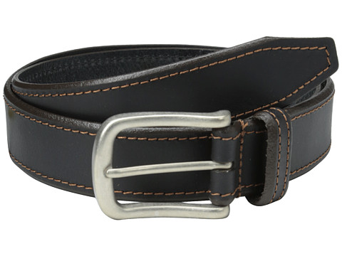 Johnston & Murphy - Contrast Stitched Belt (Black) Men's Belts