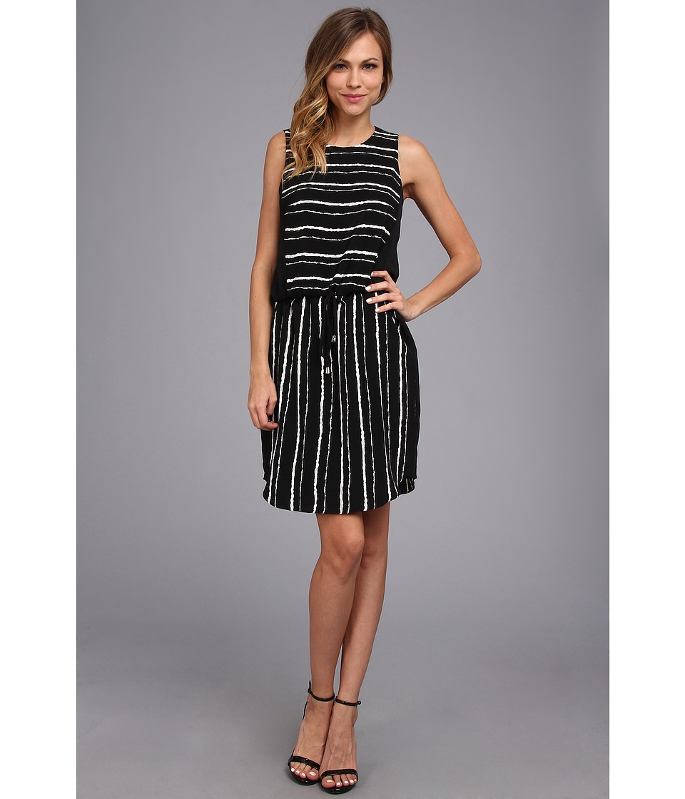 Vince Camuto - S/L Inkblot Stripe Tie Waist Dress (Rich Black) Women