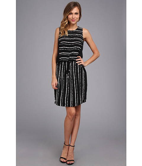 Vince Camuto - S/L Inkblot Stripe Tie Waist Dress (Rich Black) Women
