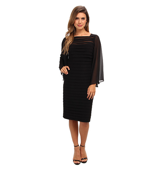 Adrianna Papell - Sheer Flared Sleeve Tuck Dress (Black) Women