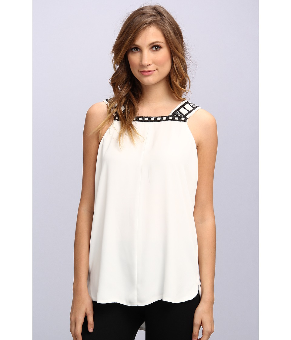Vince Camuto - S/L Neckline Embellished Blouse (New Ivory) Women's Blouse