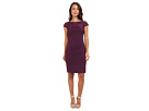 Adrianna Papell Floral Embroidered Sheath Dress (Cassis) Women's Dress