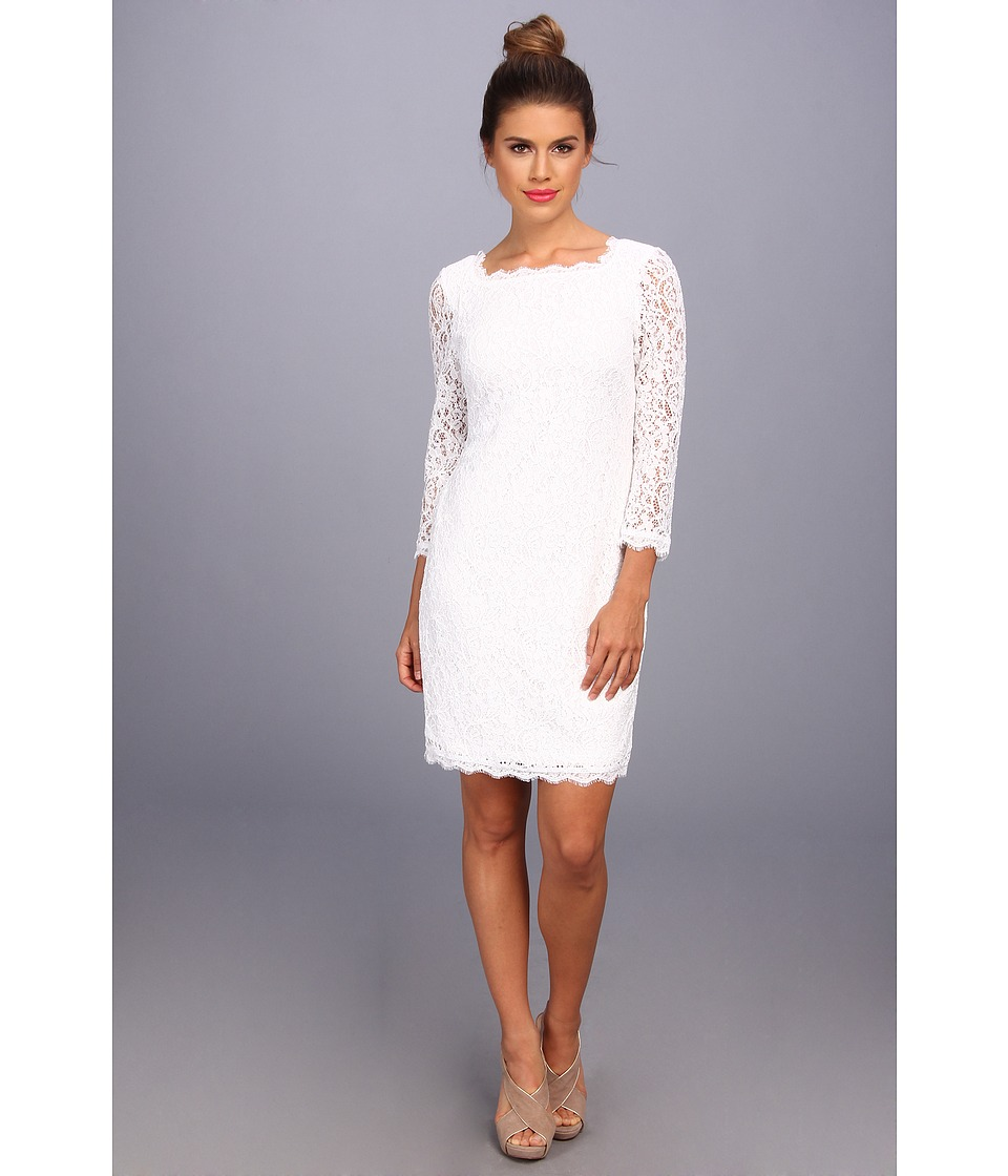 Adrianna Papell - 3/4 Sleeve Lace Dress (White) Women's Dress