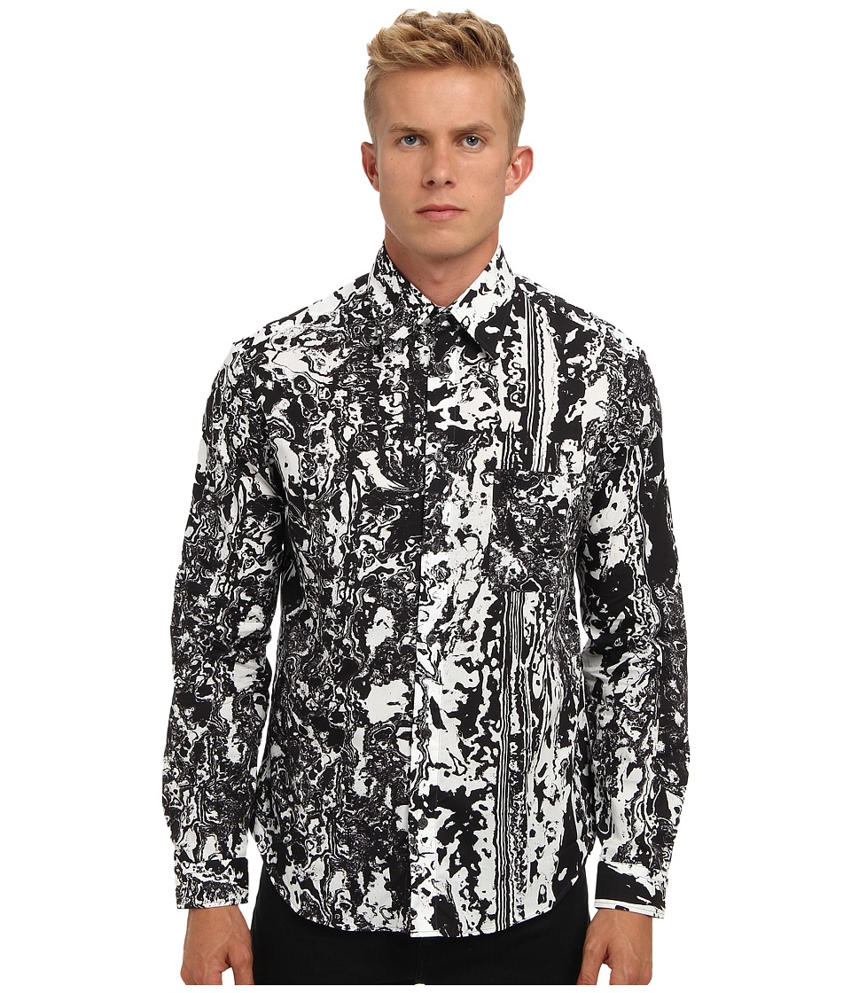 McQ - Marble Ryan Shirt (Darkest Black) Men's Long Sleeve Button Up