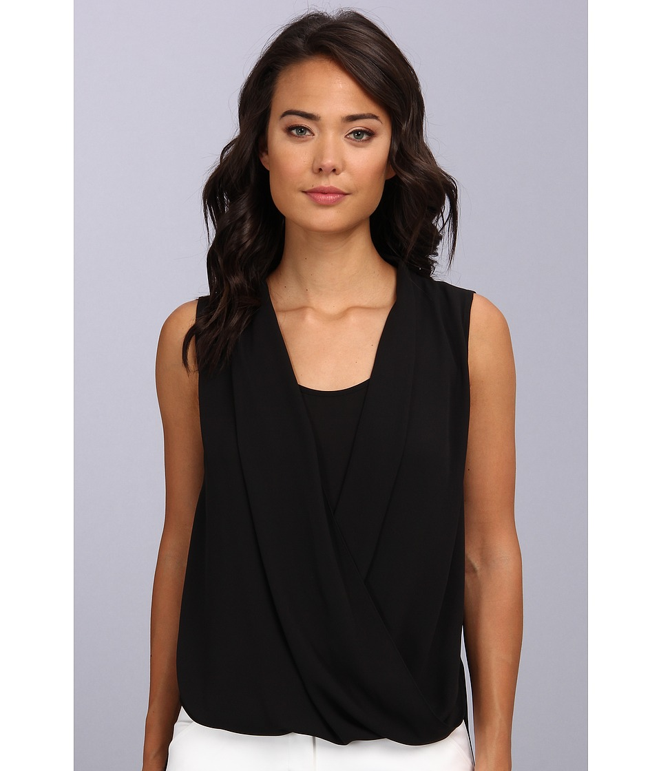 Vince Camuto - S/L Wrap Front Shirt Tail Blouse (Rich Black) Women's Blouse