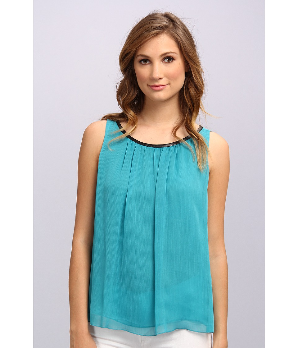 Vince Camuto - S/L Blouse w/ Pleather (Rich Teal) Women's Blouse