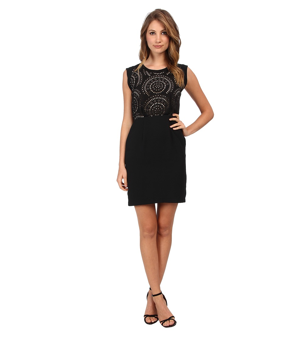 Vince Camuto - S/L Laser Cut Dress (Rich Black) Women's Dress
