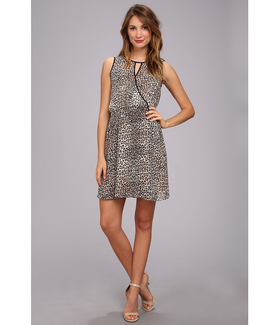 Vince Camuto - S/L Keyhole Desert Leopard Dress (Bone) Women's Dress