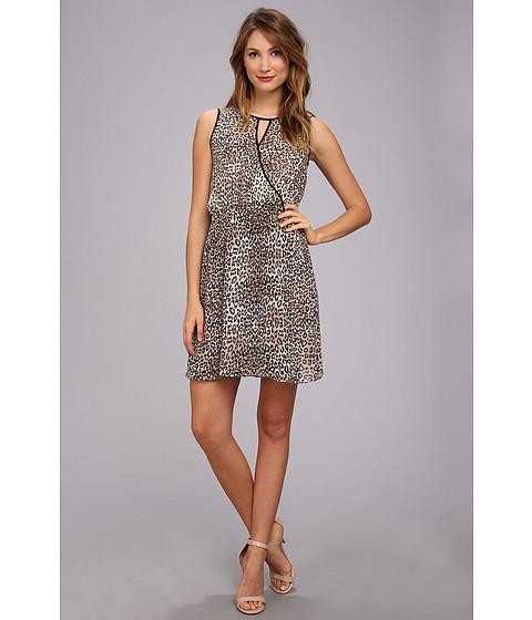 Vince Camuto - S/L Keyhole Desert Leopard Dress (Bone) Women