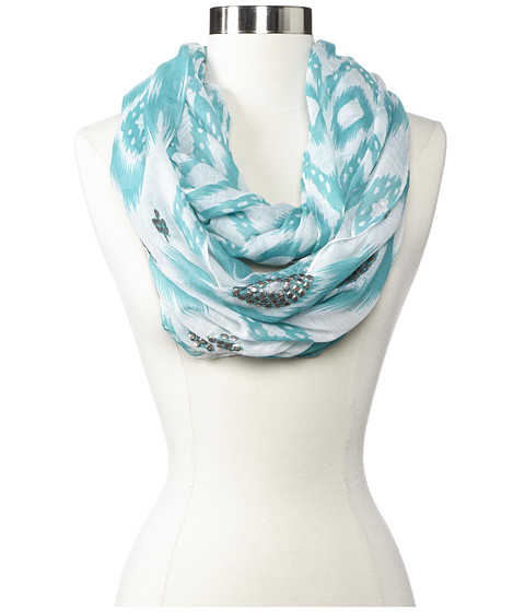 Echo Design - Island Ikat Sequined Loop (Caribbean Blue) Scarves