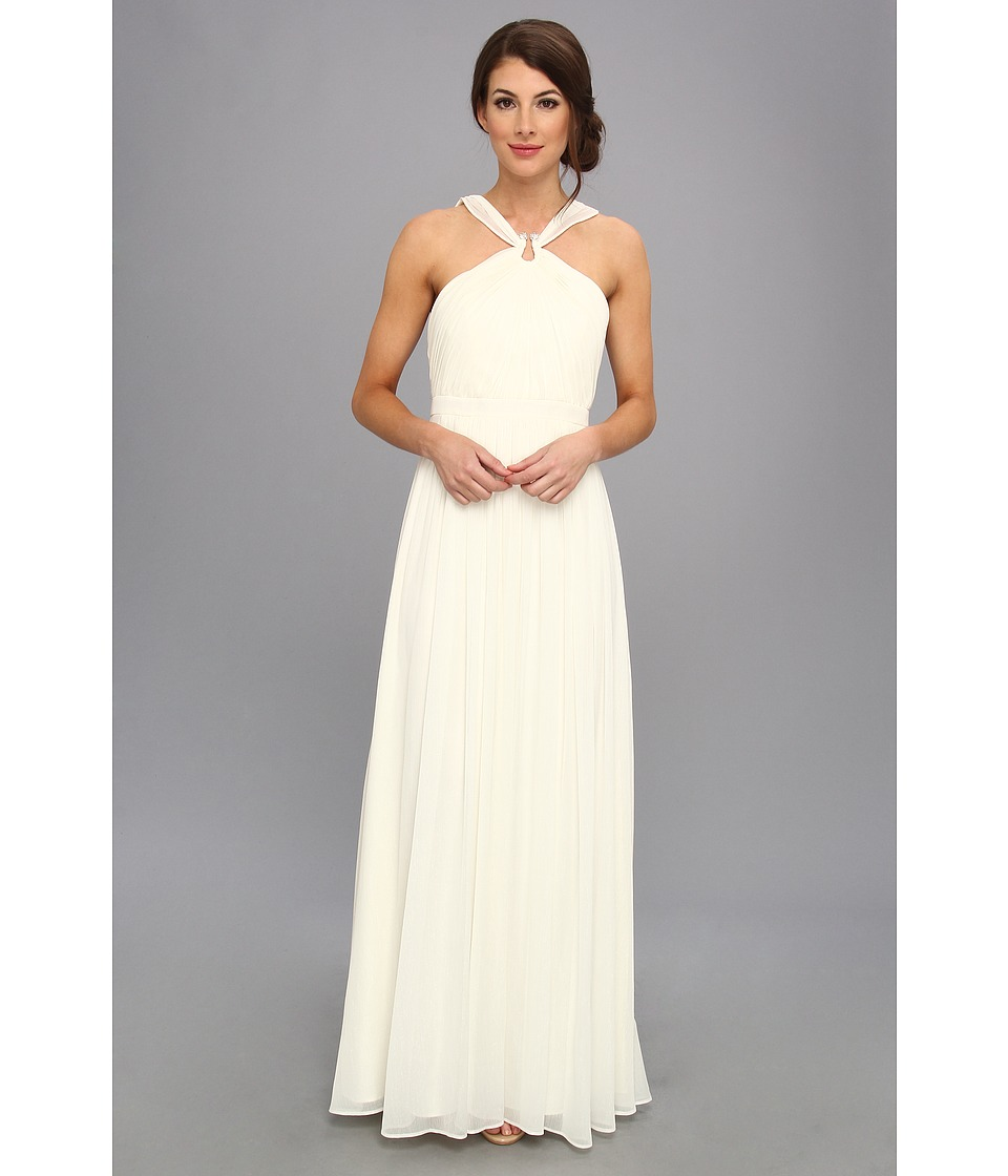 Laundry by Shelli Segal - Gathered Bodice Shimmer Gown (Snow) Women
