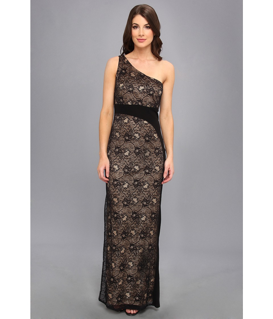 Laundry by Shelli Segal Stretch Lace and Lace and Jersey Gown Womens Dress (Black)