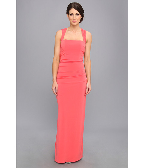 Laundry by Shelli Segal - X Back Gown Jersey Dress (Vintage Coral) Women