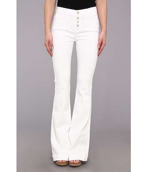 7 For All Mankind Biancha Wide Leg Pant w/ Exposed Buttons in White Fashion (White Fashion) Women's Jeans